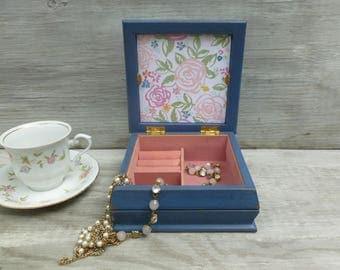 Small Deep Blue Distressed Jewelry Box