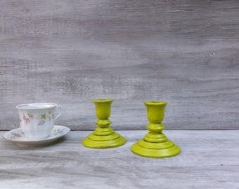 Chartreuse Painted Wood Candlesticks