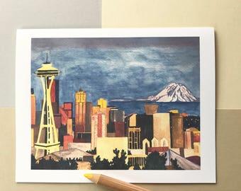 Seattle| Seattle Notecards| Seattle Postcards| Seattle Greeting Cards| Seattle Watercolor Blank Notecards| Seattle Art Cards| Seattle Cards