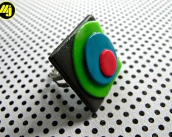 Bague ajustable en Pate polymère et inox // Adjustable ring in polymer clay and stainless steel