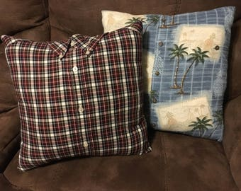Memory Pillow made from dad's or Grandpa's shirt