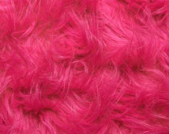 Fun Gorilla Solid Long Pile Faux Fur 58 Inch Hot Pink Fabric by the Yard, 1 yard