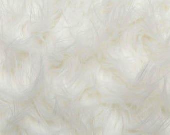 Fun Gorilla Solid Long Pile Faux Fur 58 Inch White Fabric by the Yard, 1 yard