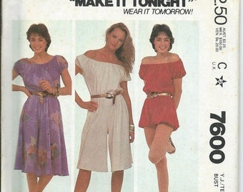 ON SALE Jr/Teen Pullover Dress And Jumpsuit Pattern, Bubble Romper, McCall's 7600, 5-6 & 7-8  UNCUT