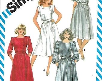ON SALE Simplicity 6212 Misses Off-Center Front Button Dress Pattern, 10 & 12, UNCUT
