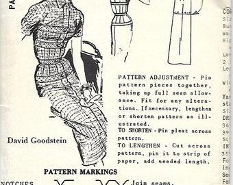ON SALE 1950's Spadea 1300 David Goodstein Slim Dress Pattern, Size 10, Bust 34