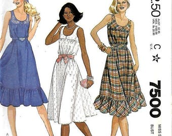 ON SALE McCall's 7500 Misses Sleeveless Dress And Transfer Sewing Pattern, Size 16, Bust 38, UNCUT
