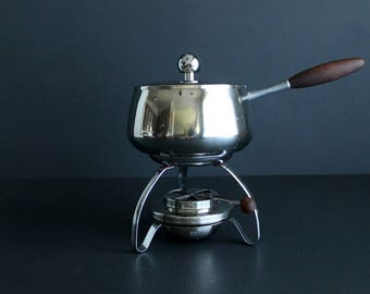 Vintage Stainless Steel Fondue Pot With Teak Handle Mid Century Crafted In USA Unused