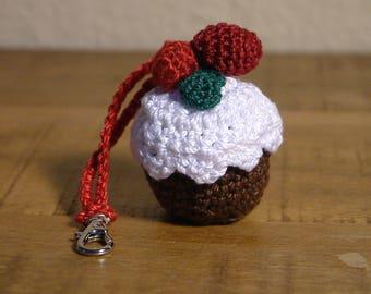 Crocheted Cupcake, Amigurumi, Purse Accessory