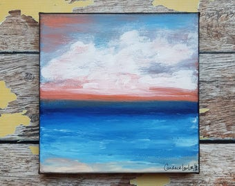 "Seascape Canvas Art | Coastal Painting | Ocean Art | Beach Decor | 6x6 | ""Autumn Evening"" | Saltons Cove Studio"