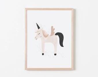 Blush Unicorn Nursery Art. Nursery Wall Art. Nursery Prints. Nursery Decor. Girl Wall Art. Unicorn Wall Art. Instant Download.