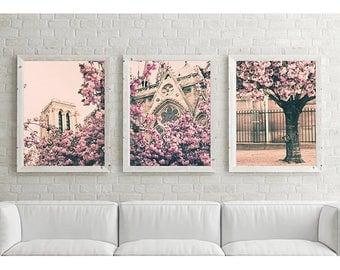 Cherry blossom art, Paris wall art, extra large wall art canvas art, Paris photography, Paris print, canvas wall art, Paris decor