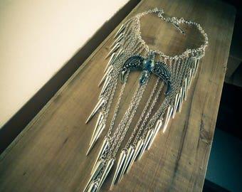 Bib necklace silver chain boho chic Harry Potter ♠Serredaigle♠