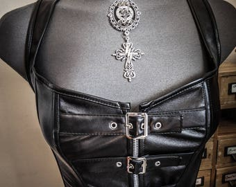 Peaks ♰666 Pentagram 666♰ punk goth silver leather bib necklace