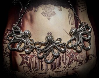 "Silver steampunk necklace ""Octopus"""
