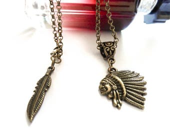 Bronze boho Indian feather mixed necklace