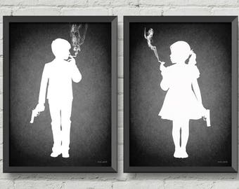 Kids today,Set of two digital prints,original art,gothic,art,poster,black and white,wall decor,home decor,gift ideas