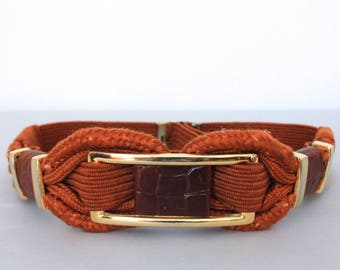 Rust Orange Burnt Orange Copper Rope Belt 80s belt Oversized Belt Knot Nautical Belt Statement Belt Large Buckle Belt Ornate Bohemian