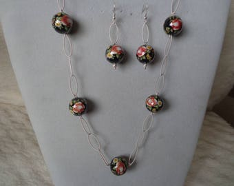 Japanese bead necklace & earrings set.