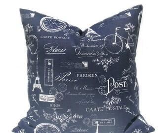 15% Off Sale Navy Pillow Navy Pillow Cover Blue Pillow Blue Pillow Cover French Decor French Pillow Paris Throw Pillow cover Decorative Pill