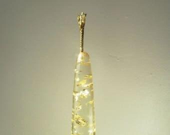 Résine fausse bougie avec feuille d'or pur, 1970, Fausse bougie inclusion feuille d'or