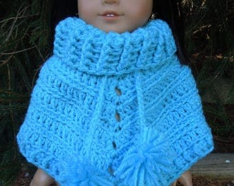 Hand crochet poncho to fit American Girl or 18 in. doll