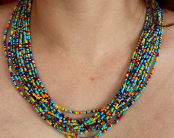 Matte Mixed Confetti Style Multi-Strand Seed Beads Necklace with Rhodium plated findings, Handmade in Nepal, Spring