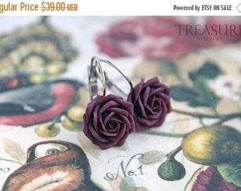 SALE Marsala rose earrings, burgundy rose, rose earrings, mini roses, dark roses, rose jewelry, dark rose earrings, marsala earrings roses,