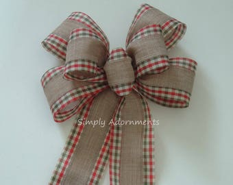 Red Green Christmas Check Bow Red Green Gingham Christmas Wreath Bow Tan Linen Christmas Bow Christmas Lantern Christmas Door hanger Bow