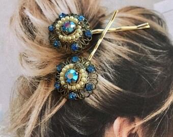 1stDayofSummerSALE Decorative Hair Pins Bridal Jewelry cobalt Sapphire Blue Ruby Filigree Hairpins Bobby Pins