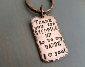Step dad gift, personalized step dad keychain, fathers day gift for step dad, stepfather gift, gift from step kids, adoption gift for dad