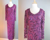 Purple Beaded Gown / Vtg ...