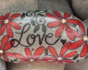 Happy Rock - LOVE - Hand-Painted Beach River Rock Stone - red daisy flower vine flower