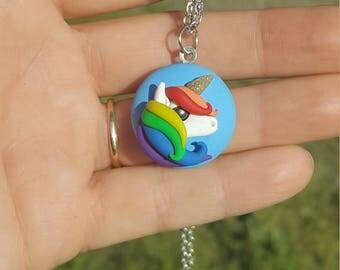 Polymer clay unicorn necklace