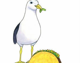 Seagull Painting Funny Food Gift Whimsical Animal Art Watercolor Bird Art Beach Decor Coastal Wall Art Original Watercolor Painting