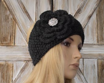 Knit Headband Head Wrap Ear Warmer Dark Charcoal Gray Grey with Crochet Flower and Sparkle Button