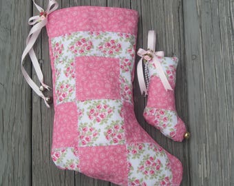 Quilted Patchwork Christmas Stocking and Matching Stocking Ornament, Pink Roses Cottage Chic Stocking, Handmade Christmas Stocking