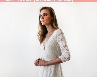 25% OFF Ivory long sleeves lace wedding gown, Lace bridal gown, Ivory lace wedding empire dress 1124