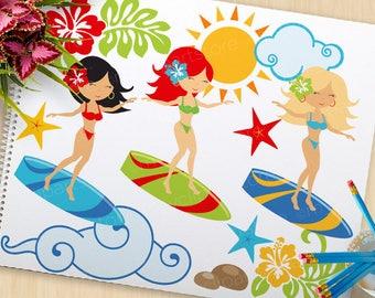 Clipart - Surfing Babes / Surfing Girls - Digital Clip Art (Instant Download)