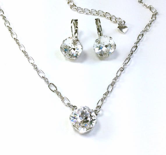 Swarovski Crystal 12MM Necklace - One Stone Cushion Cut Pendant - Designer Inspired - Crystal Clear - Sparkle & Shimmer - FREE SHIPPING