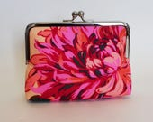 Handmade CLUTCH in Pink and Apricot Floral - Small