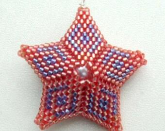 Beaded Star Necklace Red Star Necklace Beaded Star Pendant Beadwork Pendant Beaded Red Pendant Beadwoven Pendant Beadwork Necklace