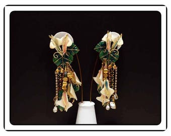 Lunch at the Ritz Stars Earrings - Retired Clip ons - Signed LATR - Vintage 1980's 1990's   E8064a-062917050