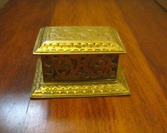 Vintage Brass Trinket Box With Concave Interior And Hinged Lid