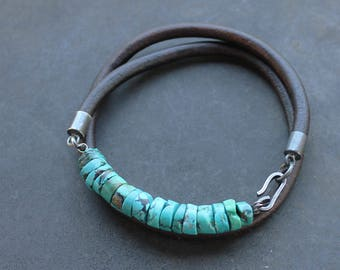 Trendy Mens Bracelet: Turquoise Leather sterling silver mens jewelry third anniversary gift for men