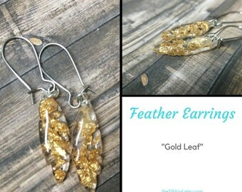 Dangling Feather Earrings - Gold Leaf
