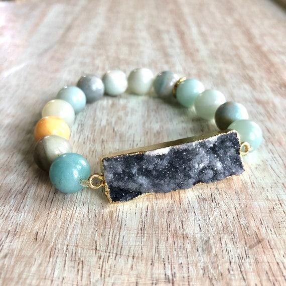 Dark Blue Druzy Stone Bracelet