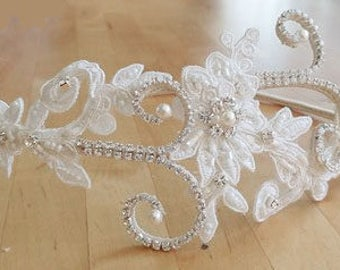 Ivory Bridal Headpiece, Bridal Headpiece, Beaded Lace and Crystals, Silver Lace Wedding Headband, Unique Bridal Accessories, High Quality