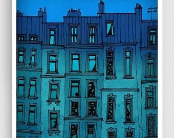 30% OFF SALE: Paris facade  - Paris illustration Fine art illustration Art Poster Paris art Paris decor Travel poster Wall art Cityscape Tur