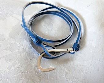 leather bracelet for men, with silver metal hook